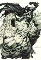 Batman vs Clayface Sketch by aaronlopresti