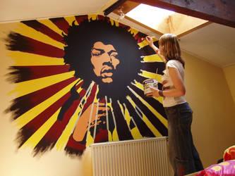 wallpainting Jimi Hendrix by Nanashi-hime