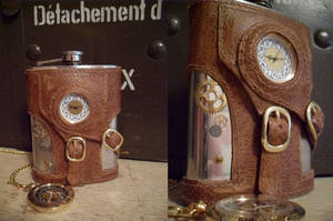 Steampunk Flask with clock by Justenjoyinglife