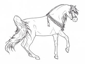 Arabian Horse with Necklace - Lineart by ReQuay