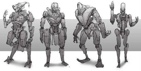 robot sketches by SprinKah