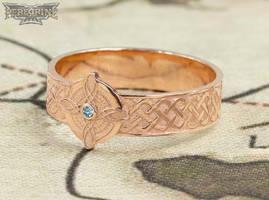 Rose Gold Ring of Mara set with Aquamarine by PeregrineStudios