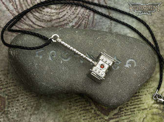 Pendant - Doomhammer (Polished Silver, Red Garnet) by PeregrineStudios