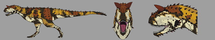 Three faces of Carnotaurus by Spikeheila