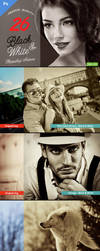 26 Black and White Adobe Photoshop Actions by SixStarStudio