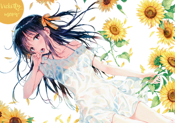 Sunflowers summer by vickitty-meow