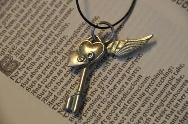 Faux Patina Heart Key by geekatheart