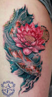 Lotus Flower with Koi Fish Tattoo by seanspoison
