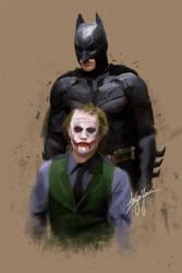 The Dark Knight and Joker by WickedDogg