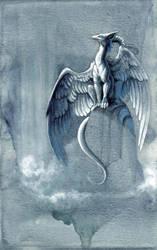 dragon at the waterfall by hibbary