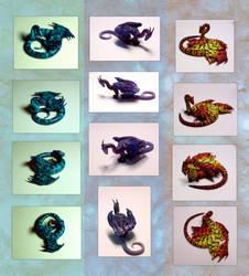 Three new dragon figurines by hibbary