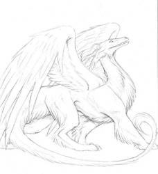 full body furry dragon by hibbary