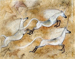 Cave Unicorns by hibbary