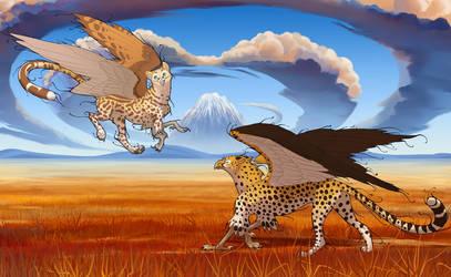 Cheetah griffins and Savannah Environment by hibbary