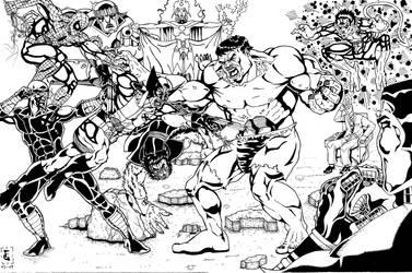 spidey n x men vs hulk by Pelusator
