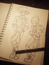 punkish goku and vegeta - sketch by 0kalcia0