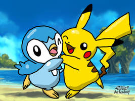 Pikachu and Piplup Pokemon Art Acdemy drawing by mgunnels3