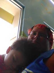 Lil Demon Sleeping on Daddy by DEMONrhino66698
