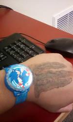 My new Sonic  watch and new tattoo by DEMONrhino66698