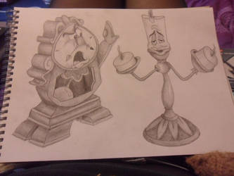 cogsworth and lumiere by 01NatBat