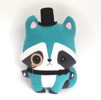 Basil Raccoon - Kawaii Pillow Plushie by TeacupLion