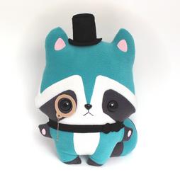 Basil Raccoon - Kawaii Pillow Plushie by TeacupLion