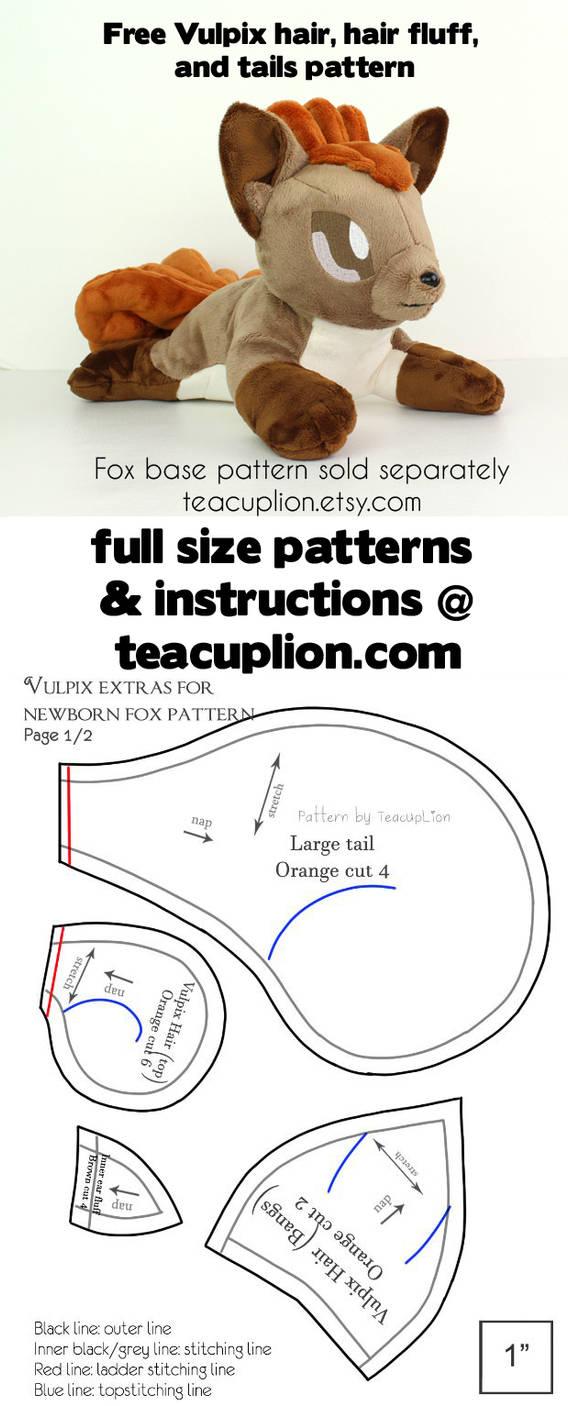 Free Vulpix parts plushie sewing pattern by TeacupLion on DeviantArt