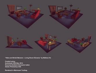 Hide and Shriek Mansion - Living Room Diorama by mhofever