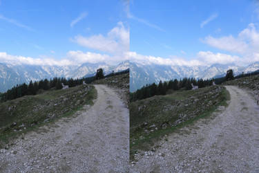 Stereoscopic path to the mountains by GizmoX7