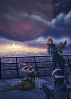 Destiny - Socializing in the Tower by Q-arts
