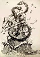 Inktober 22: Dragon by Anvonavi