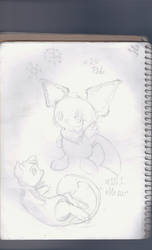 Pichu and Mew Sketch by itachinarutolover148