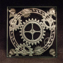 Steampunk Gear carved glass by ImaginedGlass
