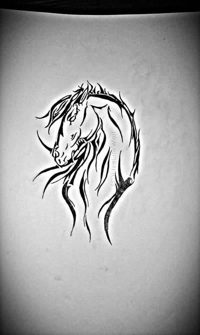 Tribal Horse Tattoo Design By Livelifewolf On Deviantart