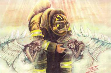 9 11 Morose Fireman n Angels by BlackUniGryphon