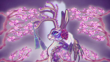 4 Seasons Jackalope Sakura Waterf Final FILM Still by BlackUniGryphon