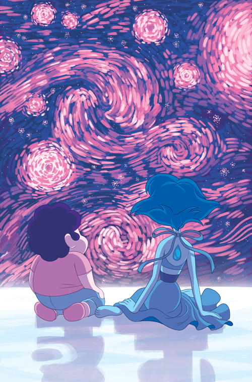 The cover for Steven Universe issue #12! A peaceful moment with Lapis in space. Inspired by her dramatic introduction to the series and Starry Night by Vincent Van Gogh.