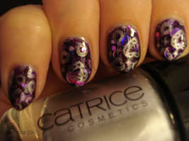 Purple gem nails by naniii