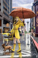 Seattle Rain Pinup by AlixBranwyn