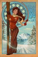Art Nouveau - Ski by AlixBranwyn