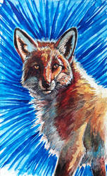 Watercolor - The Fox by NadiavanderDonk
