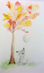Cat and Tree in Autumn by BrightNBlueFlames