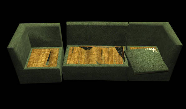 Destroyed Couch by skyledragon
