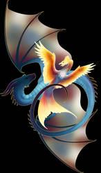 Dragon Phoenix Sketch Final by skyledragon
