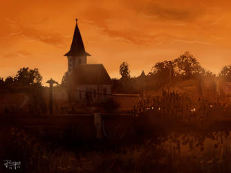 Church at Sunset by Aunsiels