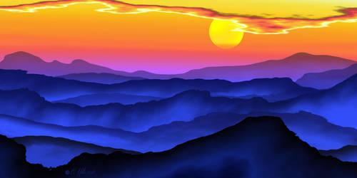 Mountain Sunset by Shadoweddancer