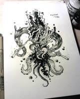 INKTOBER #12 - Flutist of Azathoth by hubertspala