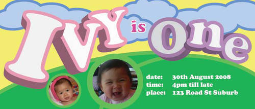 Ivy's First Birthday Invite by usualvictorthing