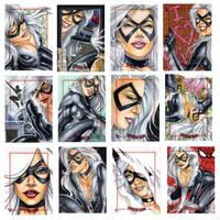 Black Cat sketch cards by Dangerous-Beauty778