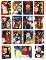 Spider-Women sketch cards by Dangerous-Beauty778